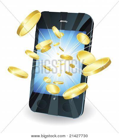 Monedas de oro volar fuera teléfono móvil inteligente