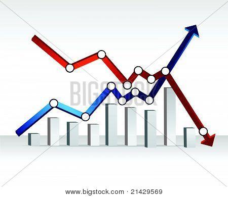 financial chart illustration design over a light gradient