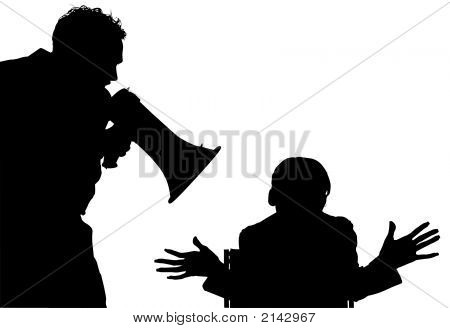 Silhouette With Clipping Path Of Man Yelling At Woman