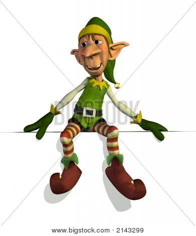 Santas Elf Sitting On Edge