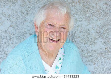 Happy senior lady smiling