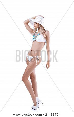 Young Girl In Bikini With Summer Hat