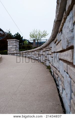 stone wall in perspective view