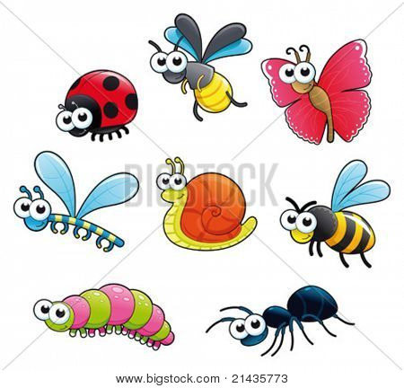 Bugs + 1 snail. Funny cartoon and vector isolated characters.