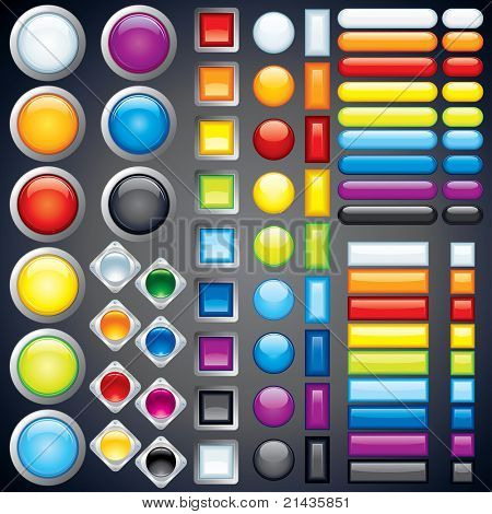 Blank Buttons Template, vector without transparencies, meshes