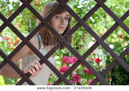 Teenage Girl Behind A Wooden Fence
