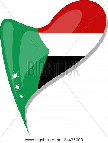 Sudan In Heart. Icon Of Sudan National Flag. Vector