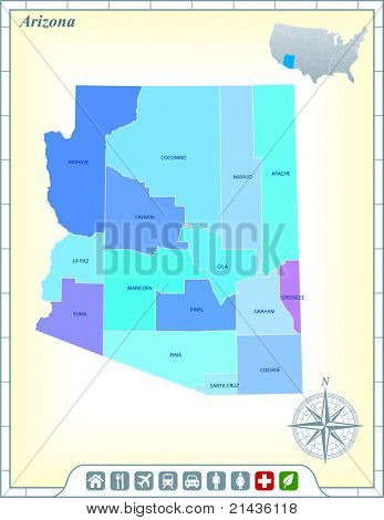 Arizona State Map with Community Assistance and Activates Icons Original Illustration