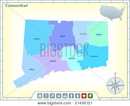 Estado de Connecticut mapa con ayuda de la comunidad y activa los iconos ilustración Original