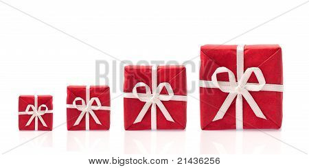 Ask  For More, Four Red Gift Boxes In A Row