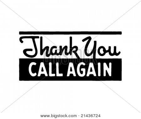 Thank You Call Again 5 - Retro Ad Art Banner