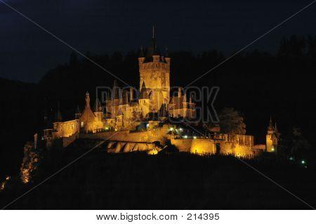 Night View Of Burg Cochem In Cochem, Germany