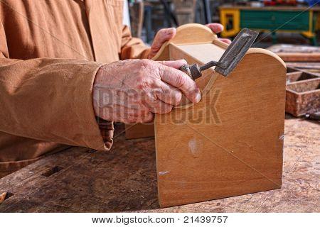 fine portrait of aged craftman detail