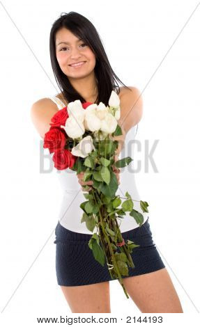 Beautiful Girl Holding Flowers