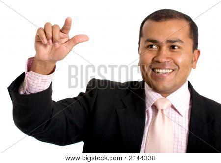 Business Man Touching Screen