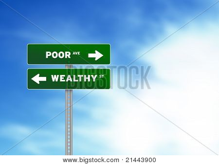 Poor And Wealthy Road Sign
