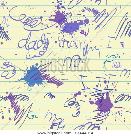 scrawl and blot on school paper sheet seamless