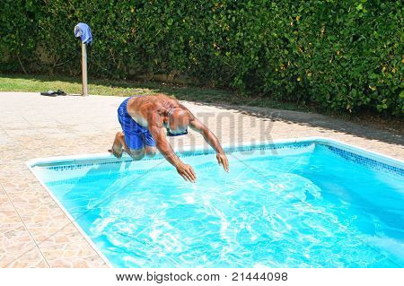 Man Jumping To Swimming Pool
