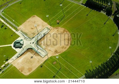 Abstract Aerial View Of Baseball Fields
