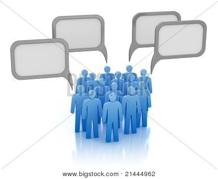 Communication concept - crowd of people. Isolated on white