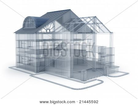 Architecture plan house, transparent model