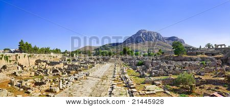 Ruins Of Town In Corinth, Greece