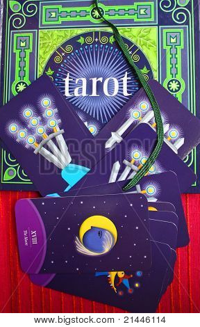 Colorful Tarot Cards, with symbology