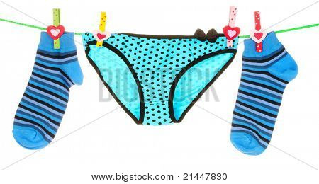 blue striped socks and underpants is isolated on a white