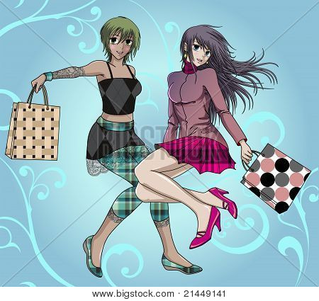 Shopping Girls - with background