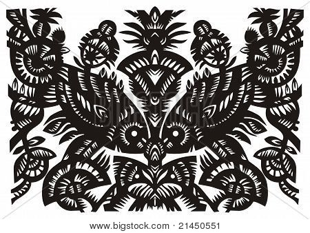 Black  Pattern With The Fish