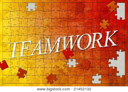 An image of an unfinished teamwork puzzle