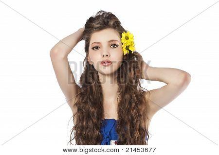 Young Fresh Girl Over Whute