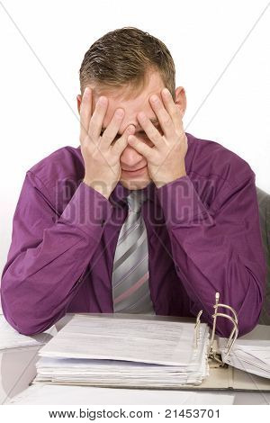 Overwhelmed And Desperate Businessman