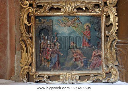 Jesus prays while the disciples sleep