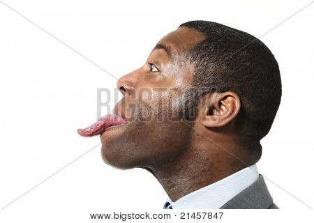 closeup of funny black man over white background, side view,