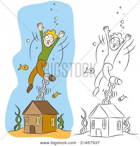 An image of a man chained to his house underwater.