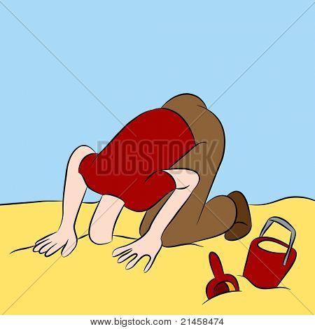 Ein Bild von einem Mann mit seinem Kopf in den Sand stecken.