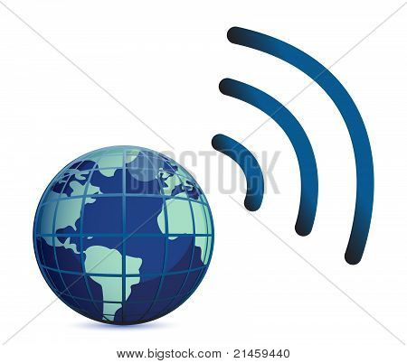 wireless connection with the earth globe isolated over white
