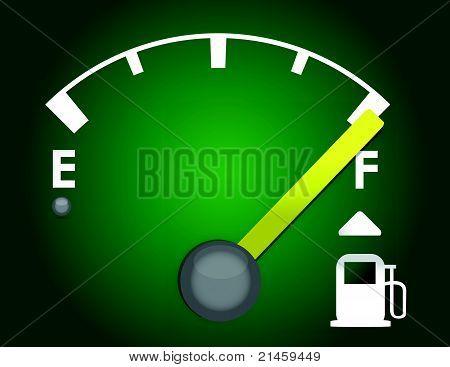 diseño de ilustración detallada gas gage aislado sobre un fondo verde oscuro