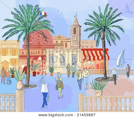 vector illustration of a french imaginary city on the french riviera