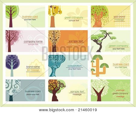 Vector business cards with stylized trees, related to green and ecology concepts.