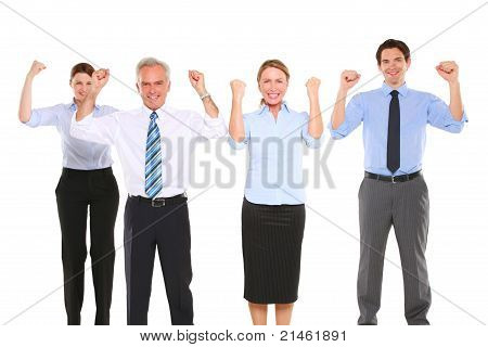 businessman and businesswoman exulting in white background
