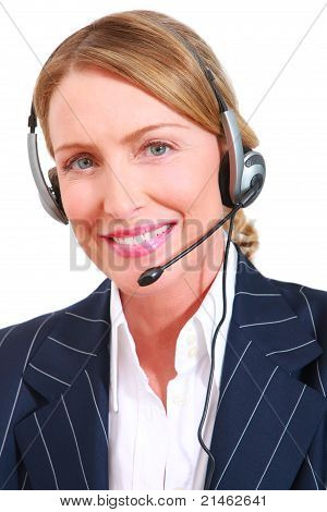 businesswoman with microphone smiling in white background