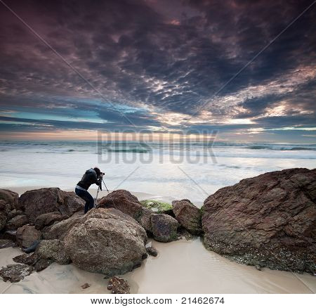 Woman Photographer Takes Photo Of The Seascape