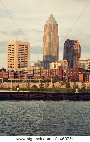 Downtown Of Cleveland, Ohio During Sunset