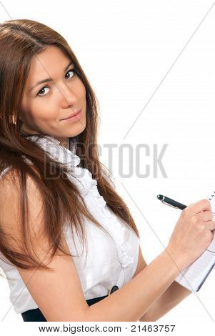 Business Woman Writing With Pen In The Hand Notebook Organizer Paper
