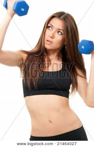 Fitness Woman Instructor With Perfect Athletic Body And Abs Workout With Blue Weights Dumbbells