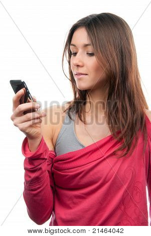 Pretty Woman Reading, Typing And Sending Sms Text Message On Mobile Cellphone