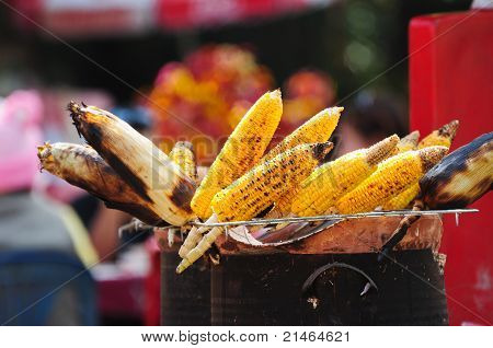 Grilled Corns On Sale On Street