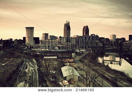Cleveland während des Sonnenuntergangs